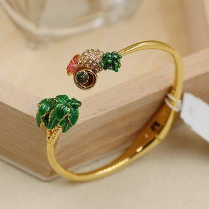 Pineapple and Coconut Hinged Cuff Bracelet